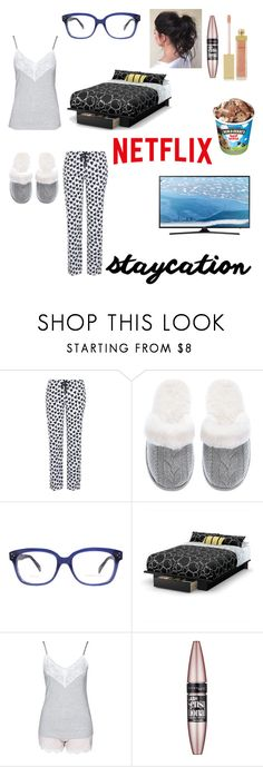 """Staycation"" by thedancingdiamond ❤ liked on Polyvore featuring George, Victoria's Secret, CÉLINE, South Shore, Hunkemöller, Maybelline, AERIN and Samsung"