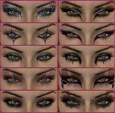 25 Halloween Make-up Ideas. Maybe running costume make up, too? Dramatic Eye Makeup, Cat Eye Makeup, Dramatic Eyes, Fx Makeup, Movie Makeup, Makeup Contouring, Goth Makeup, Scary Makeup, Beauty Makeup