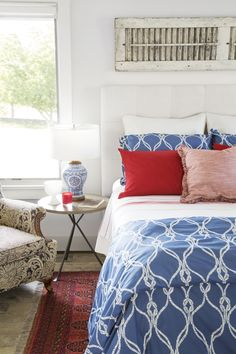 So much of the decor in this Rhode Island bedroom is made up of family pieces collected throughout the years.