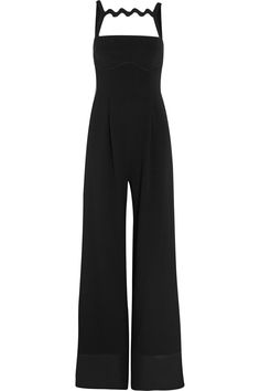 Black crepe Concealed zip fastening along back triacetate, silk, polyester;  trim: viscose Specialist clean Made in the UK