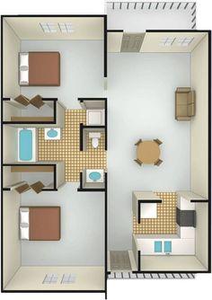 2 bedroom, 1.5 bathroom - Tiki Hut - Villa Del Lago Apartments $398 per bedroom