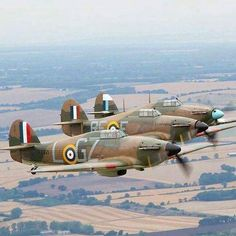 Hawker Hurricanes in formation.                                                                                                                                                      More