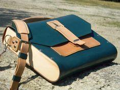 Bandolera de cuero maletín de madera de cuero por MaroquinArtisan
