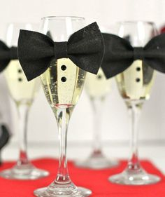Tuxedo Champagne Flutes | Throw a red carpet-worthy bash with these easy-to-make decorations.