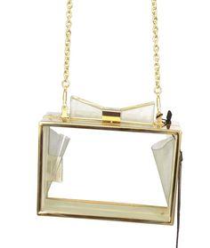 STREET LEVEL Square Box Clutch Handbag Womens Purses Clear Gold Size S #StreetLevel #Clutch