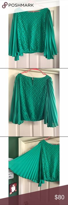 Green blouse with pleated sleeves ONLY WORN ONCE! Spring green blouse with pleated sleeves. Beautiful lace pattern with scrunched waist line. Very comfortable and breathable! Esley Tops Blouses