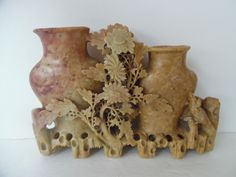 Asian Hand Carved Soapstone Floral with Double Vase Nicely Detailed