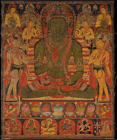 Buddha Amoghasiddhi with Eight Bodhisattvas, Tibet, ca 1200, Dhyani Buddha, North, green.