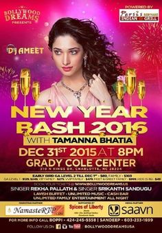 New Year Bash 2016 Celebrate with Actress Tamanna Bhatia Event Tickets on Sulekha. Event Venue Held on Grady Cole Center, Charlotte, NC. Also View New Years Event Parties In  Research Triangle Area, New Years Eve Tickets  Research Triangle Area,  New Years Eve Parties In  Research Triangle Area