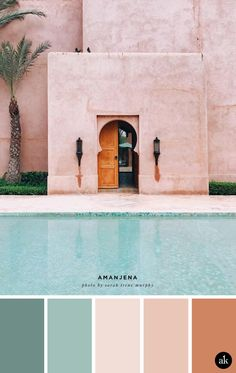 a Moroccan-inspired color palette — Creative brands for creative people // Akula Kreative - a blush and green Morrocan-inspired color palette // blush pink, palm green // photo by Sarah Irene Murphy Source by jdrachen - Colour Pallette, Colour Schemes, Green Pallete, Beach Color Palettes, Bedroom Color Palettes, Warm Color Palettes, Color Trends, Color Palette Blue, Beach Color Schemes