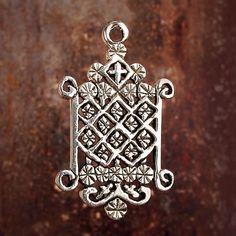 OGOUN - STERLING Silver Voodoo Veve Lwa Voudun Charm Pendant