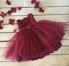Red Wine Burgundy Rosette and Tulle Baby Dress