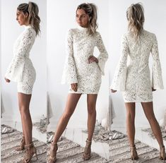 New Women Sexy High Collar Lace Bodycon Dress Party Evening Bandage Mini Dresses Long Sleeve Homecoming Dresses, Prom Party Dresses, Short Dresses, Holiday Dresses, White Long Sleeve Dress, White Dress, Dress Lace, Dress Vestidos, Bodycon Dress