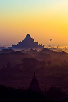Sunrise over Bagan, Myanmar http://viaggi.asiatica.com/  I hope to take a pic like this when I visit in November! Repinned by www.loisjoyhofmann.com