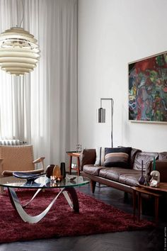 living room with mid century furniture