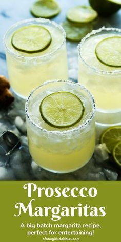 Prosecco Margaritas (big-batch cocktail) Prosecco Margaritas, a big batch cocktail recipe from - This bubbly Prosecco margarita recipe was made for entertaining. In big batch recipe form, a pitcher of margaritas is ready for guests before they arrive. Beste Cocktails, Prosecco Cocktails, Cocktail Drinks, Alcoholic Drinks, Beverages, Spring Cocktails, Limoncello Drinks, Prosecco Punch, Easy Cocktails