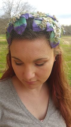A personal favorite from my Etsy shop https://www.etsy.com/listing/260605820/vintage-green-purple-veiled-handband-tea