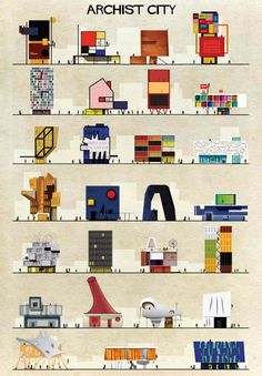 Famous works of art transformed into buildings in federico babina' s Archist Series        Iconic works from artists including Piet Mondrian, Andy Warhol, Damien Hirst, Marcel Duchamp and more are reinterpreted as cross-sectional drawings of buildings in this series from Italian architect and illustrator Federico Babina
