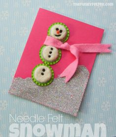 Needle Felted Wool Snowman Craft Tutorial by The Funky Felter
