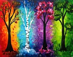 Paint Nite: Discover a new night out and paint and sip wine with friends Pintura Graffiti, Colorful Paintings, Tree Paintings, Canvas Paintings, Paint Party, Tree Art, Painting Inspiration, Design Inspiration, Painting & Drawing