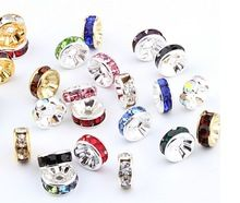 DIY Jewelry Supplies Parts To Make Jewelry 50pcs/Lot Mixed Colors Rhinestone Connector Charms Spacer Beads 8mm(China (Mainland))