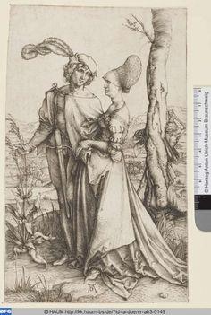 Housebook Dress Der Spaziergang (Durer 1491-1528)  Herzog Anton Ulrich-Museum Braunschweig,   Bilddatei hauma-duerer-ab3-0149