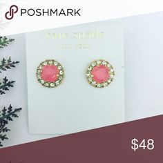 Kate Spade Neon Pink Halo Earrings Authentic Kate Spade earrings featuring neon pink stones surrounded by clear crystal halo. 14k gold fill.   Don't forget to shop my closet for a bundle discount! kate spade Jewelry Earrings