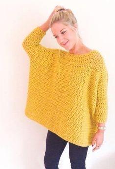 Crochet Diy crochet: Oversized Box Jumper by Frank Pull Crochet, Mode Crochet, Crochet Diy, Crochet Woman, Crochet Crafts, Crochet Tops, Crochet Ideas, Crochet Cardigan, Crochet Shawl