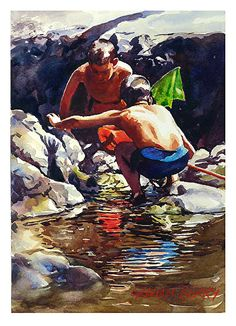 """Looking for Tiddlers by Graham Berry Watercolor ~ 12"""" x 8"""""""