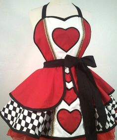 Queen Of Hearts Pin Up Costume Apron via Etsy