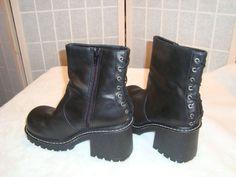 L.E.I. Sz 9.5M Women's Dannie Faux Black Leather Punk Ankle Boots Lace Up Backs #LEI #FashionAnkle
