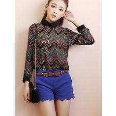 Blue Women Autumn Fashion On Sale Cotton Blend Floral Hem Short Pant... ($15) via Polyvore