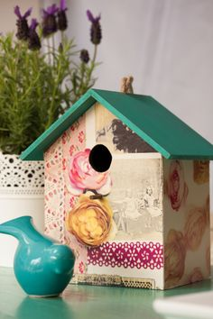 """Birdboxes seem to be the latest """"must have"""" in home accessories so try creating your own with a plain wooden birdbox and a roll of d-c-fix for a unique accessory in your home that will impress your friends!"""