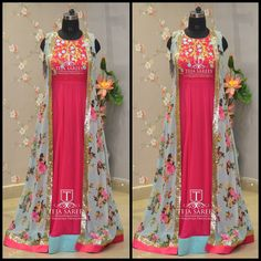 Looking for something new . Here is a beautiful pink chiffon floor length teamed with sea green floral overcoat.TS-DS- 502Available For orders/queriesCall/ whats app on8341382382 orMail tejasarees@yahoo.com. 07 September 2017
