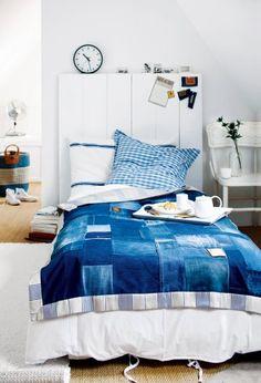 patchwork,  jeans, upcycling, denim, plaid, home, blue
