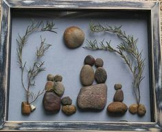 Pebble Art (Pebble Family in the Outdoors) in a 9x11 shadow box glass enclosed frame