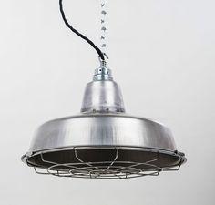 Fabriklampe 31cm Stahl mit Gitter steel lamp loft Industrial Lighting in Möbel & Wohnen, Beleuchtung, Deckenlampen & Kronleuchter | eBay