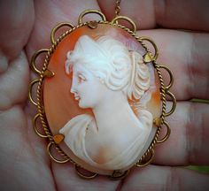 Large Antique Beautiful Hand Carved Shell Cameo, Rare Left Facing, Rolled Gold, Pendant Brooch by emenow, $69.00