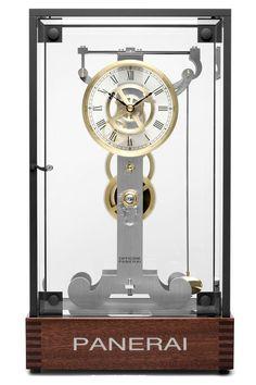 Panerai Galileo Galilei's Pendulum Clock PAM A Limited Edition. Wooden Gear Clock, Wooden Gears, Skeleton Clock, Panerai Watches, Gents Watches, Pendulum Clock, Sandblasted Glass, Diy Clock, Cool Watches