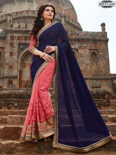 Blue & Pink Chiffon & Net Embroidered Saree - Designer Sarees - Shop By Type - Sarees