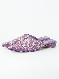 Pointed babouche slipper, heeled and decorated with floral patterns. | Biyadina® BABOUCHE ADDICTION