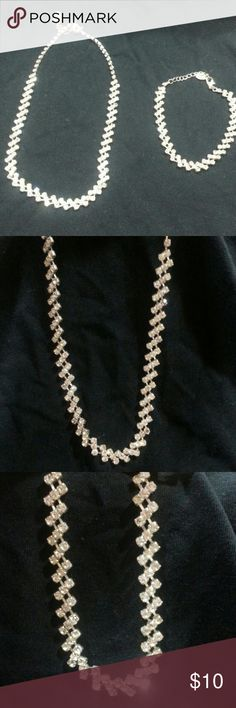 Diamond Stud Necklace + Bracelet Set Worn a couple times In good condition Jewelry Necklaces