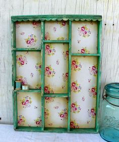 Cottage Kitchen Shadow Box Aqua Flower Shelf