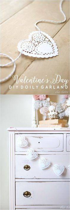 Create these sweet doily garlands with someone you love for Valentine's Day!