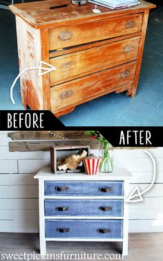 DIY Furniture Makeovers - Refurbished Furniture and Cool Painted Furniture Ideas for Thrift Store Furniture Makeover Projects | Coffee Tables, Dressers and Bedroom Decor, Kitchen |  Antique Dresser with Denim Treatment  |  http://diyjoy.com/diy-furniture-makeovers