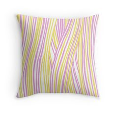 """Funky stripes, white, pink and yellow"" Throw Pillows by ptitsa-tsatsa 