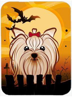 Halloween Yorkie Yorkshire Terrier Glass Cutting Board