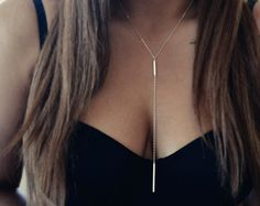 Silver Bar Lariat Necklace Simple Silver Y Necklace by foressti, $55.00