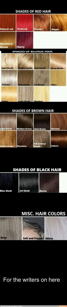 Descriptive words for hair color to use when writing about your character's appearance.