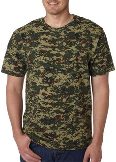 code five adult camouflage t-shirt - green digital (m)